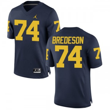 Men's Ben Bredeson Michigan Wolverines Authentic Navy Brand Jordan Football Jersey -