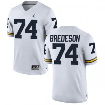 Men's Ben Bredeson Michigan Wolverines Replica White Brand Jordan Football Jersey -