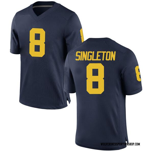 Men's Drew Singleton Michigan Wolverines Replica Navy Brand Jordan Football College Jersey
