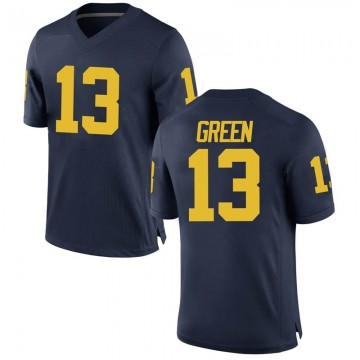 Men's German Green Michigan Wolverines Replica Green Brand Jordan Navy Football College Jersey