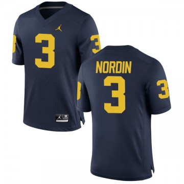 Men's Quinn Nordin Michigan Wolverines Authentic Navy Brand Jordan Football Jersey -