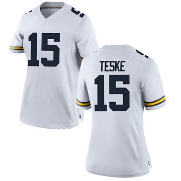 Women's Jon Teske Michigan Wolverines Replica White Brand Jordan Football College Jersey