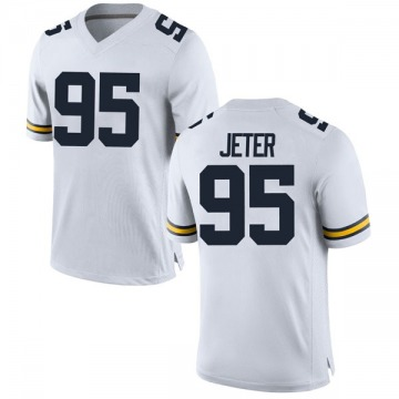 Youth Donovan Jeter Michigan Wolverines Replica White Brand Jordan Football College Jersey